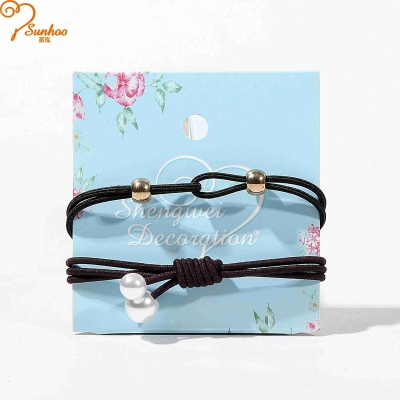 Girls rubber bands with beads pearl H-0019